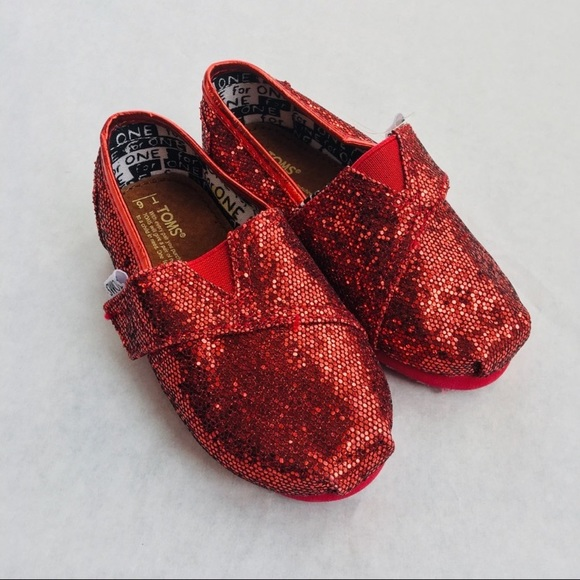 Toms Shoes | Red Glitter Toms | Poshmark